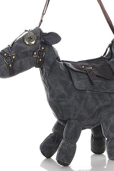 Pony canvas shoulder bag animal bag grey