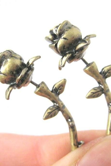 REALISTIC FAKE GAUGE ROSE FLOWER SHAPED STUD EARRINGS IN BRASS
