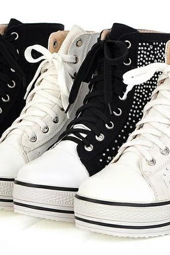 Black and White Rhinestone Rivets Sneaker Boots