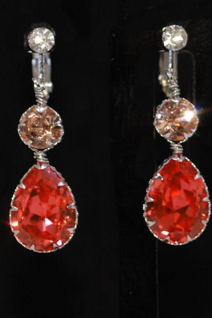 Crystal Screw Back Clip On Earring with Swarovski Light Peach Round, Padparadscha Teardrop Crystals - Wedding Jewelry, Bridal Earring (E669)