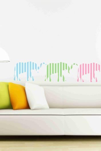 Elephant Set with Colourful Stripes Vinyl Decals