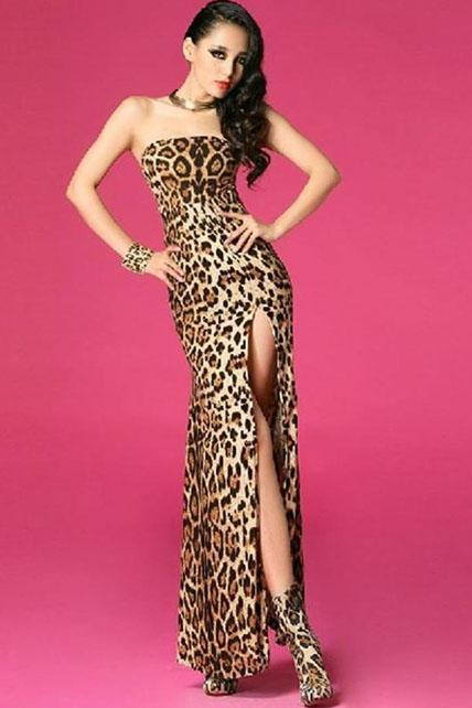 Charming Slit Desing Leopard Tube Dress for Party