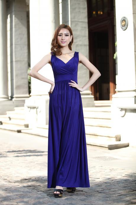 Royal Blue Long Prom Dress Wedding Bridesmaid Dresses Evening Party Formal Gowns Holiday Dresses Cocktail Maxi Dresses Homecoming Dress Plus Sizes