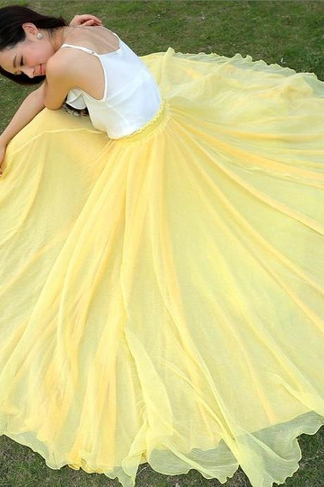 Yellow Long Chiffon Skirt Maxi Skirt Ladies Silk Chiffon Dress Plus Sizes Sundress Beach Skirt Oversize