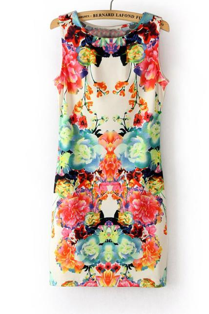 Pastoral Flower Print Round Neck Skinny Tank Dress