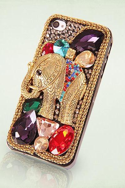 iphone 5 case Elephant bling gem iphone 5s case jewel iphone case unique iphone case 3d iphone 5c case rhinestone iphone5 case iphone4 case(PC3)
