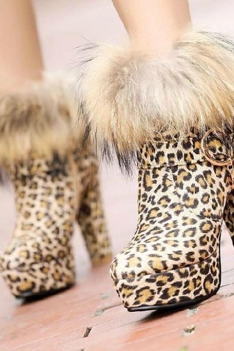 Super luxury fox fur boots women's boots high heels