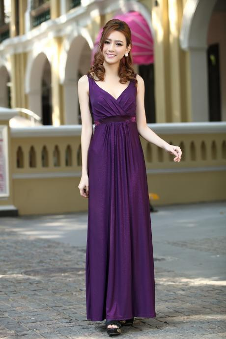 Purple Long Party Formal Evening Maxi Dress bridesmaid dresses Gown Plus size available