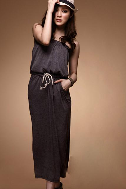 Casual Solid Color Cotton Maxi Dress with Elastic Waist - Grey