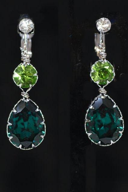 Wedding Jewelry, Bridesmaid Earrings - Crystal Screw Back Clip On Earring with Swarovski Round Peridot, Emerald Teardrop Crystal (E667)