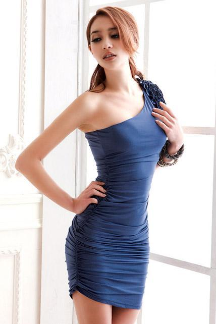 Adorable One Shoulder With Ruffle Cotton Ruched Dress - Blue
