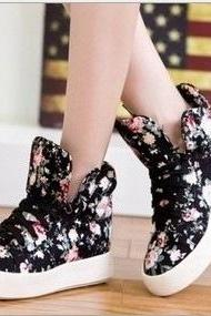 Floral shoes soled platform shoes high shoes casual canvas shoes