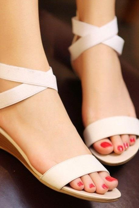 Open-toe Cross Strap Wedges with Back Zipper