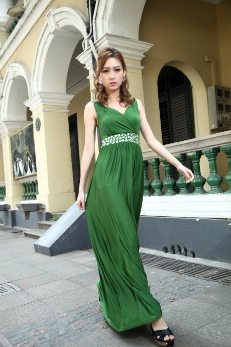 Emerald Green Bridesmaid Dress Formal Cocktail Bead Prom Party Evening Maxi Dress Plus Sizes Evening Cocktail Dress Ball Gowns