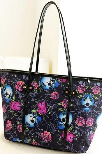 Skull and Rose Shoulder Bag
