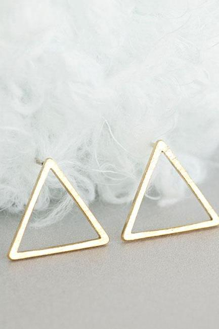 Gold Open Triangle Stud Earrings, Hollow Frame Ear Posts, Minimalist Geometric