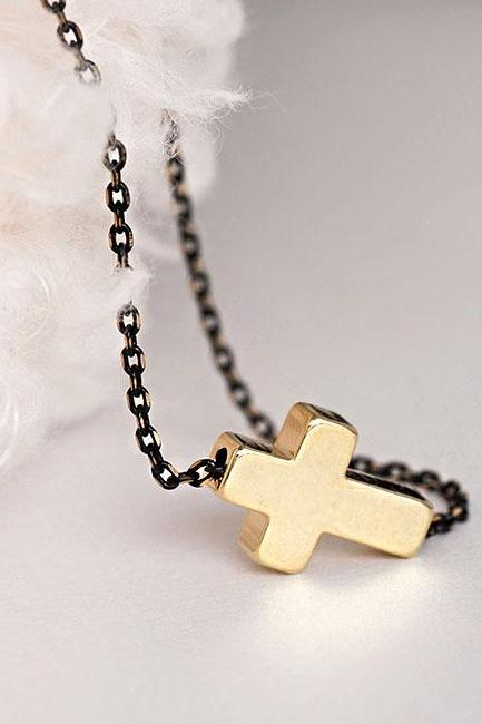 Gold Sideways Cross Necklace, Black Enamel Gold Cutout Chain