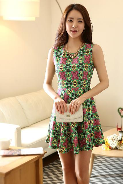 Exquisite Printed Tank Pattern Green A Line Dress