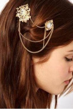 Metallic Gold Crystal Hair Accessory