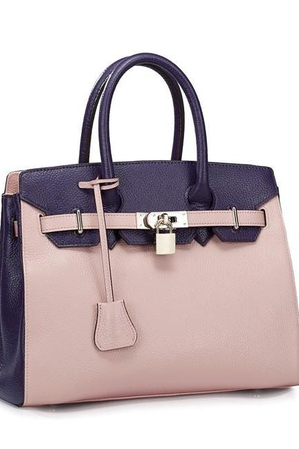 Elegant Leather Color Block Luxury Hand Bag