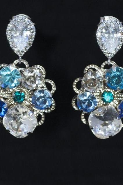 Wedding Earrings, Bridesmaid Earrings, Bridal Jewelry - Vintage Earring with Swarovski Blue Crystals (E230)