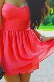 Sexy and Pretty Mini Watermelon Chiffon Prom/Homecoming Dresses, Graduation Dresses