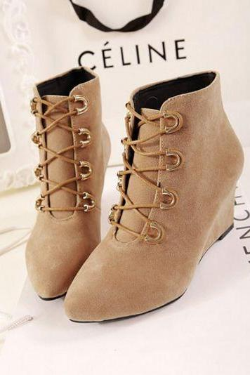 Classy Pointed Toe Lace Up Wedge Ankle Boots
