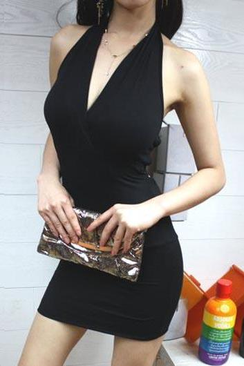 Sexy Open Back Halter Dress for Club - Black