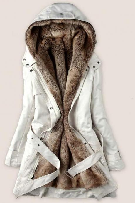 Fashion beige color Faux Fur Lined Coat