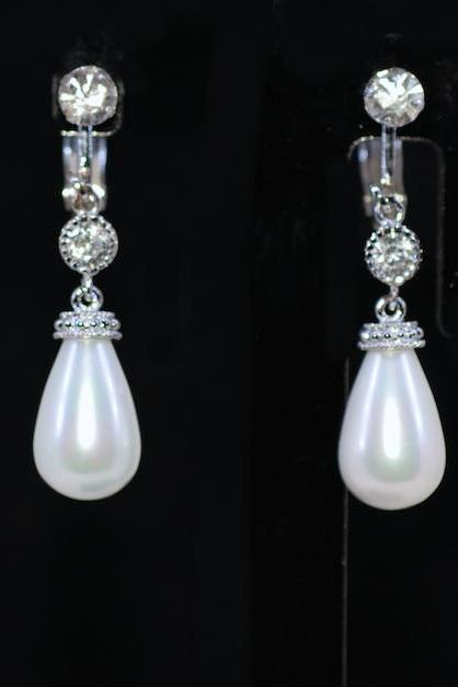 Wedding Earrings, Bridesmaid Earrings, Bridal Jewelry - Crystal Clip On Screw Back Earring with Round CZ and White Briolette Pearl (E676)