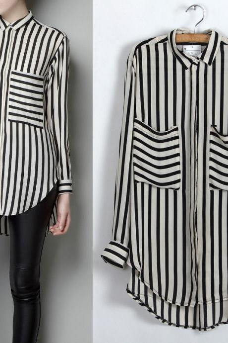 Black White Vertical Stripe Long Sleeve Shirt Chiffon Blouse
