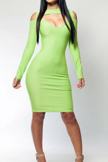 Attractive Long Sleeve Green Cutout Pattern Tight Dress