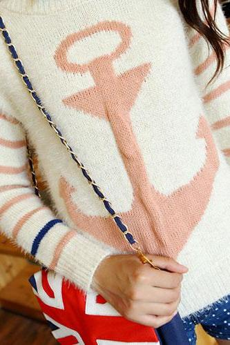 Pink color Navy Style Anchor Strip Print Soft Sweater