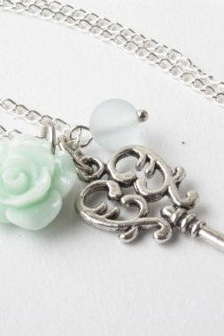 Mint rose and key necklace, Vintage key necklace -Mint Bridesmaid necklace - vintage style necklace - short necklace - white and silver - shabby chic - bridesmaid jewelry - white wedding - gift
