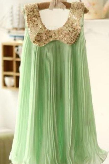 Girls Mint Green Chiffon Summer Dress Sparkling Sequined Peter Pan Collar Fancy Dress