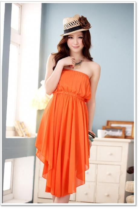 Charming Chiffon Irregular Skirt Strapless Dress