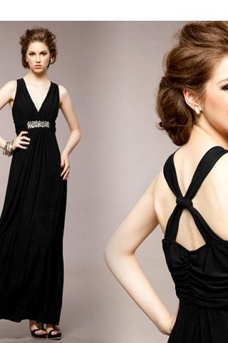 Women's Slim Fit V-Neck Solid Color Rhinestone Embellishment Sleeveless Long Dress