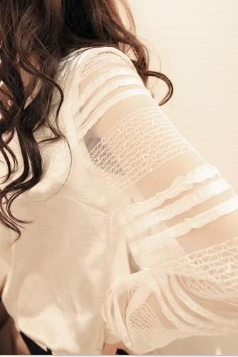 Stitching lace sleeve long-sleeved shirt