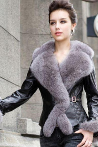 Free Shipping Real Sheepskin Leather Jacket Fur