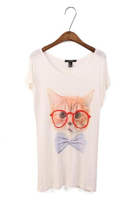 Women's Funny animal glasses Stamp T-shirt