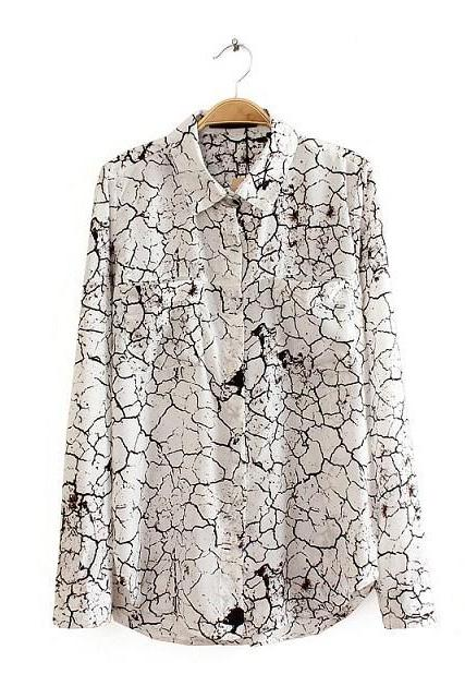 Long-sleeved Button Down Shirt with Dual Front Pockets and Cracked Print