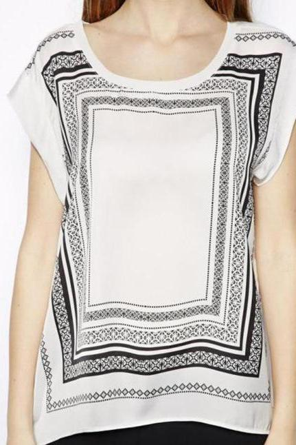 Leisure wild collision color square printing T-shirt tops