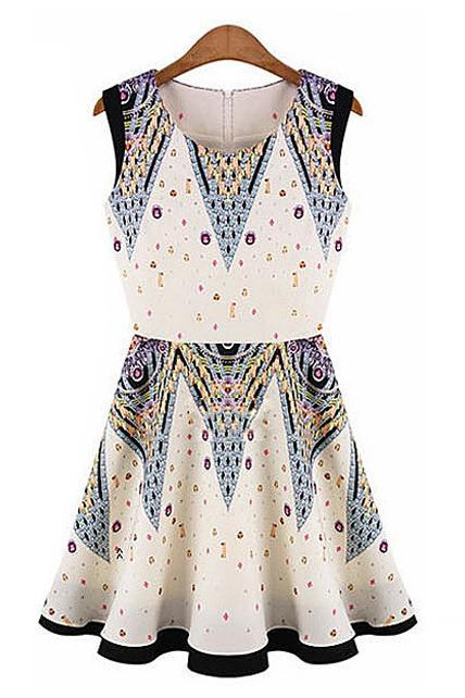 Fashion A Line Summer Hot Pattern Print Sleeveless Dress