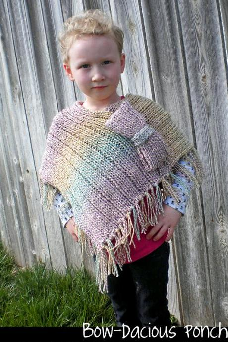 Bow-dacious Poncho Knitting Pattern