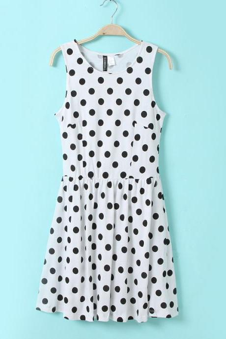 Polka Dot Dot Printed elastic cloth sleeveless dress trumpet skirt