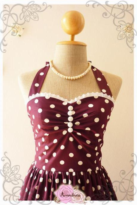 Wine Dress Purple Tea Dress Classic Polka Dot Dress Bridesmaid Summer Dress Eggplant Dress Scarlet Purple Party Dress-Range XS-XL