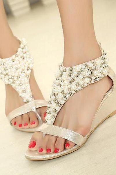 Beaded wedge sandals Roman style zipper