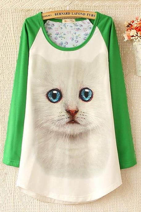 Loose fashion round collar lovely cat head printing long render female T-shirt