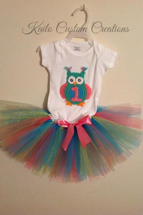 First, Second, Third birthday tutu outfit, newborn baby child toddler photo prop with crochet owl applique