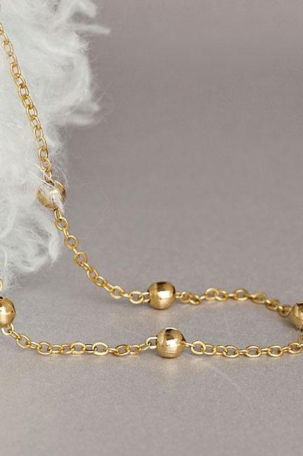 Long Satellite Dotted Long Necklace, Gold / Silver